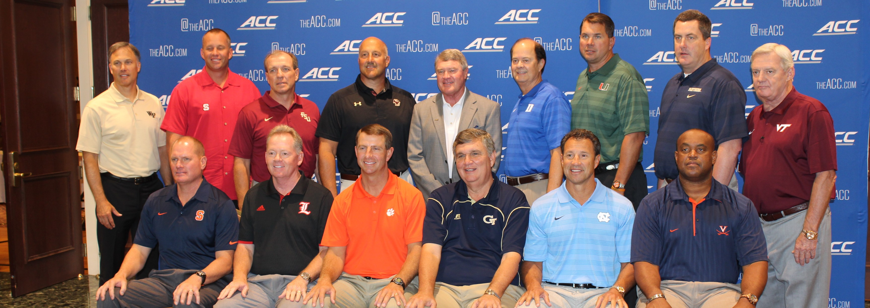 ACC Football Coaches 2014 ACC Kickoff Photo By Mark Blankenbaker Al Golden, Dabo Swinney, Jimbo Fisher, Bobby Petrino, Scott Shafer, Dave Clawson, Paul Johnson, Larry Fedora, Paul Chryst, Frank Beamer, Mike London, Steve Addazio, David Cutcliffe, and Dave Doeren Fitted