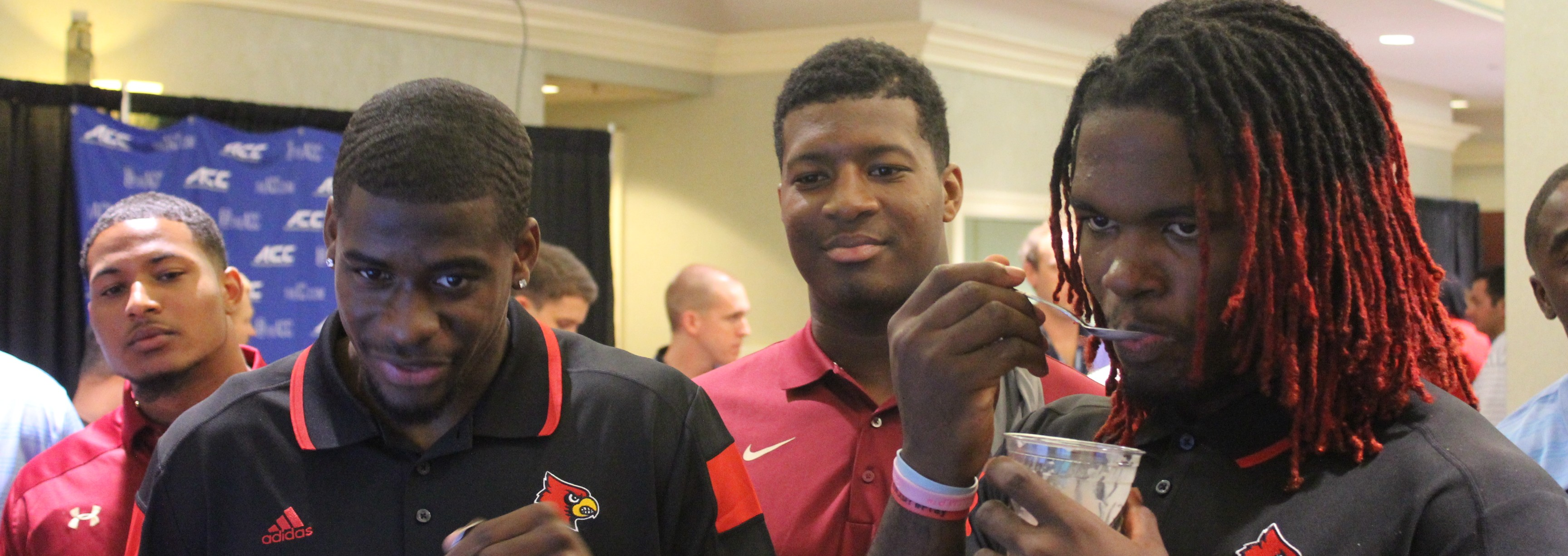 DeVante Parker, Lorenzo Mauldin, & Jameis WInston at 2014 ACC Kickoff Ice Cream Social Photo by Mark Blankenbaker