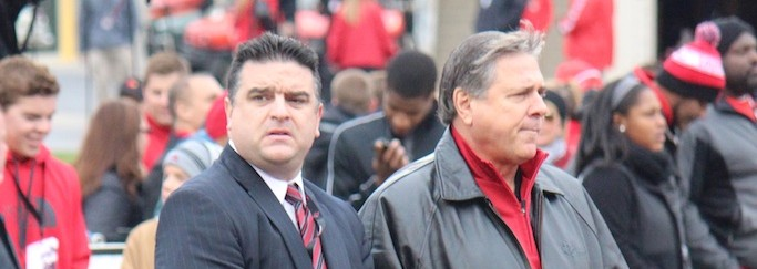 Rocco Gasparro & Tom Jurich Louisville vs. Kentucky 2014 Governor's Cup 11-29-2014 Photo by Mike Lindsay