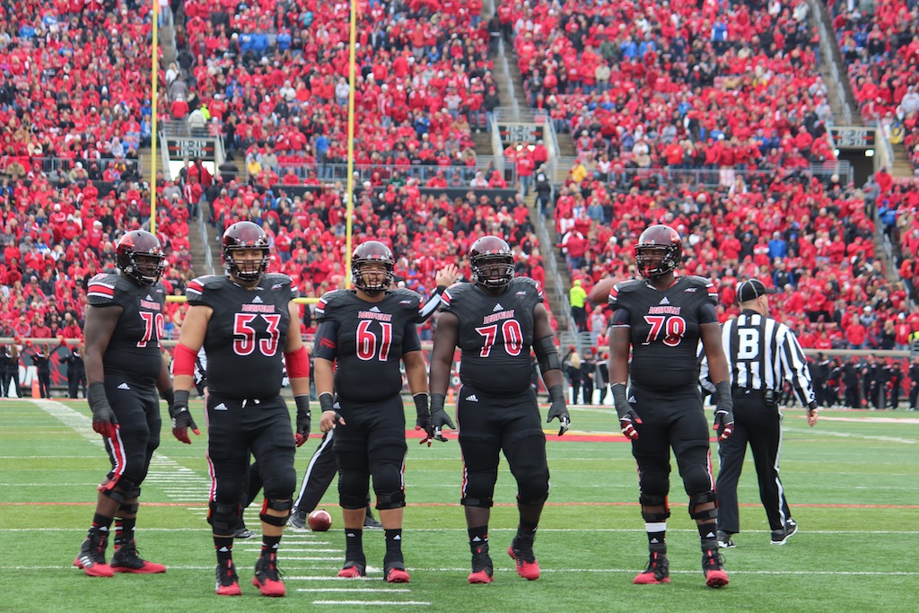 Louisville Offensive Line, Jamon Brown, Jake Smith, Tobijah Hughley, John Miller, and Aaron Epps Louisville vs. Kentucky 11-29-2014 2014 Governor's Cup