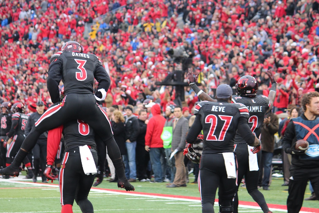 Gerod Holliman Interception Record Single Season with Charles Gaines, James Sample & Jermaine Reve Louisville vs. Kentucky 11-29-2014 2014 Governor's Cup Photo by Mike Lindsay