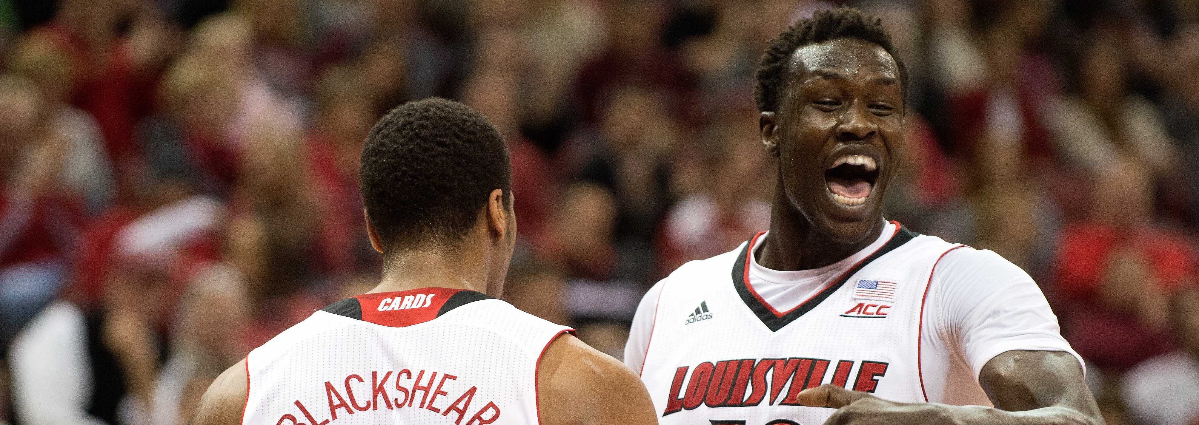 Mangok Mathiang & Wayne Blackshear Louisville vs. Bellarmine 11-9-2014 by Adam Creech