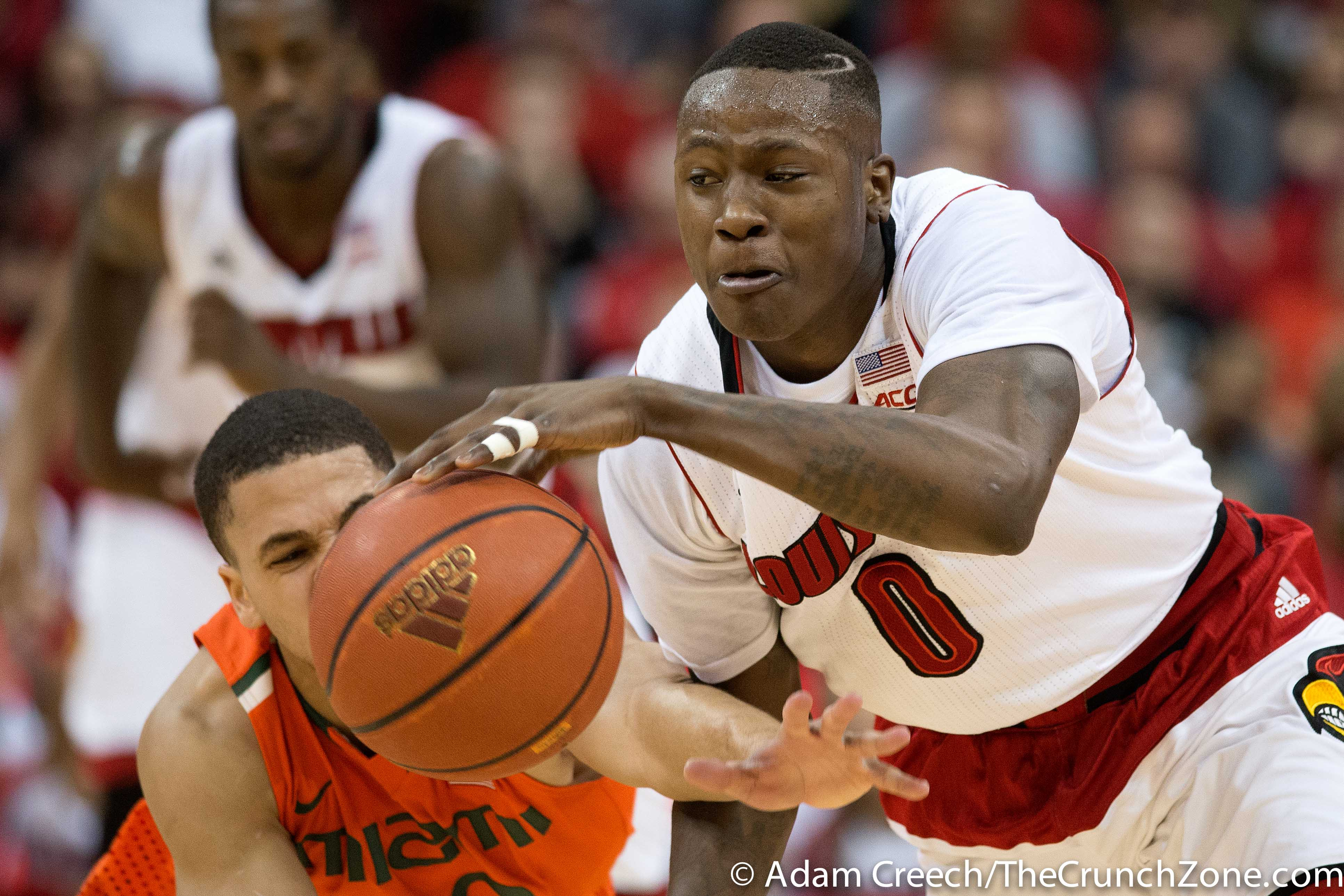Terry Rozier Louisville vs. Miami 2-21-2015 Photo by Adam Creech