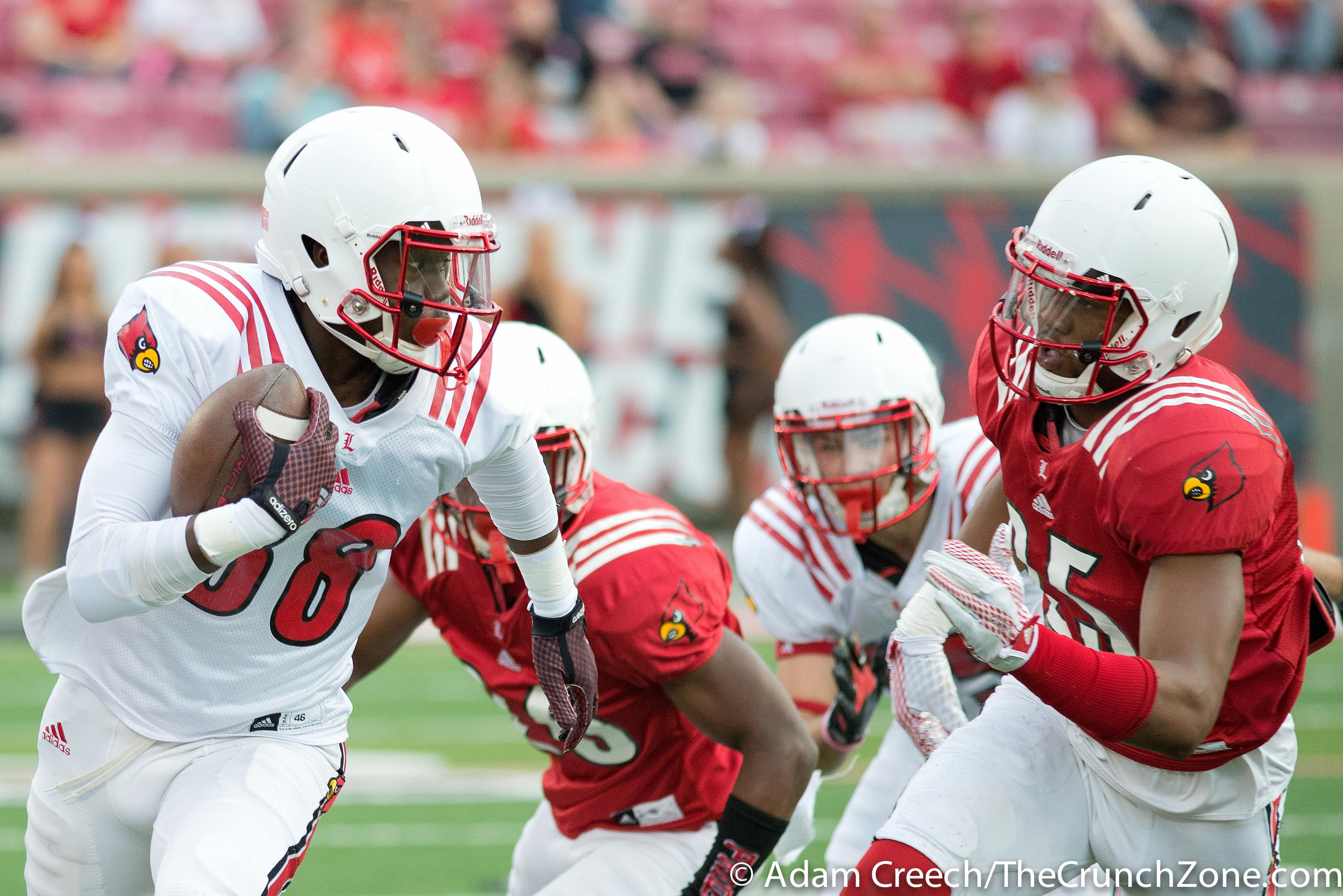 Javonte Bagley, Josh Harvey-Clemons 2015 Louisville Spring Game 4-17-2015 Photo by Adam Creech