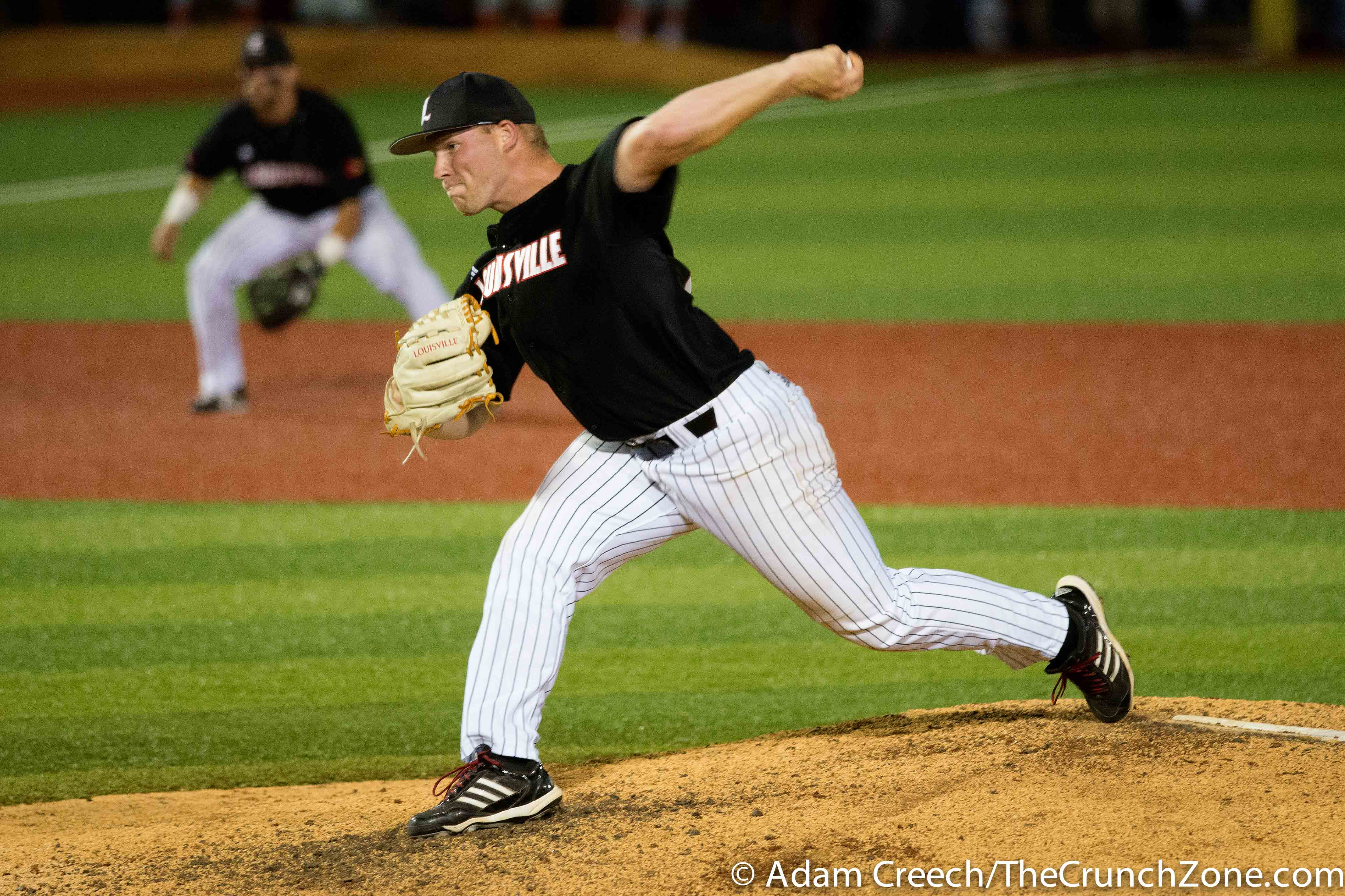 Drew Harrington Louisville vs. Cal State Fullerton Game 3 Super Regional. Photo By Adam Creech 6-8-2015