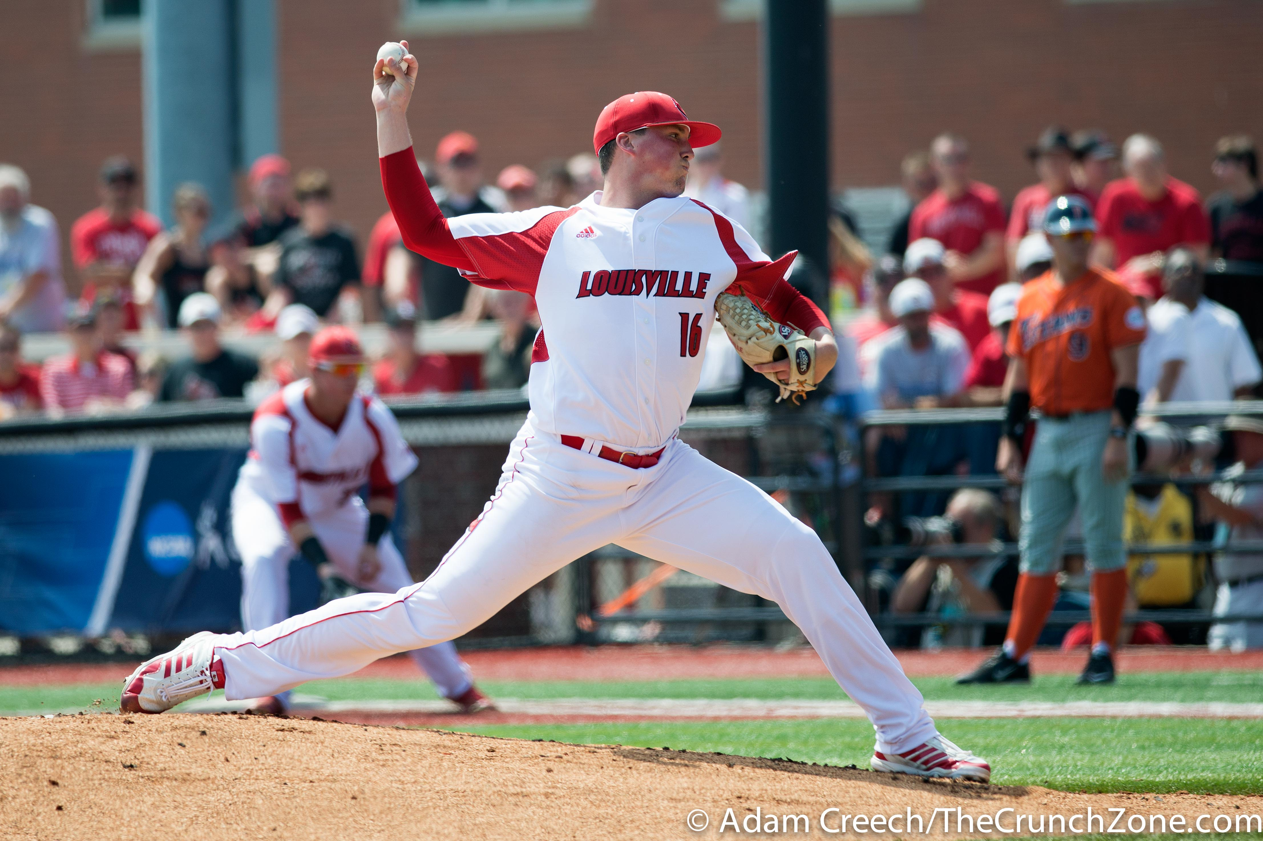 Kyle Funkhouser Louisville vs. Cal State Fullerton Game 1 Super Regional. Photo By Adam Creech 6-6-2015