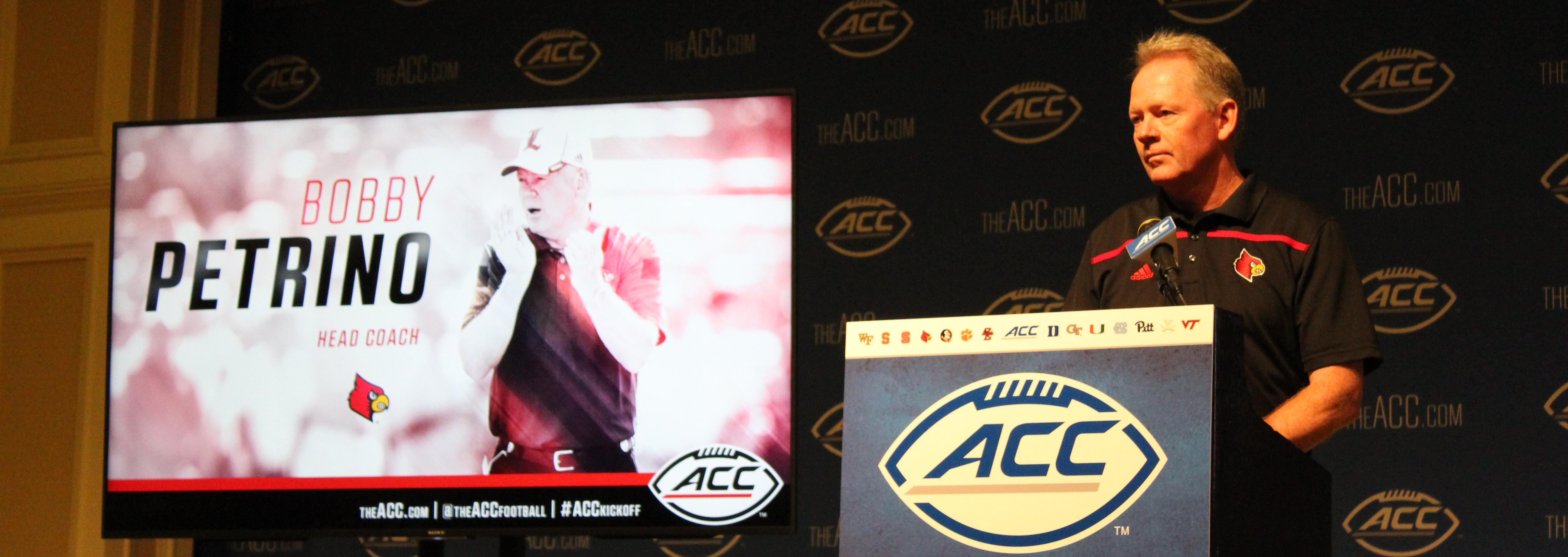 Bobby Petrino 2015 ACC Kickoff Photo by Mark Blankenbaker Fitted