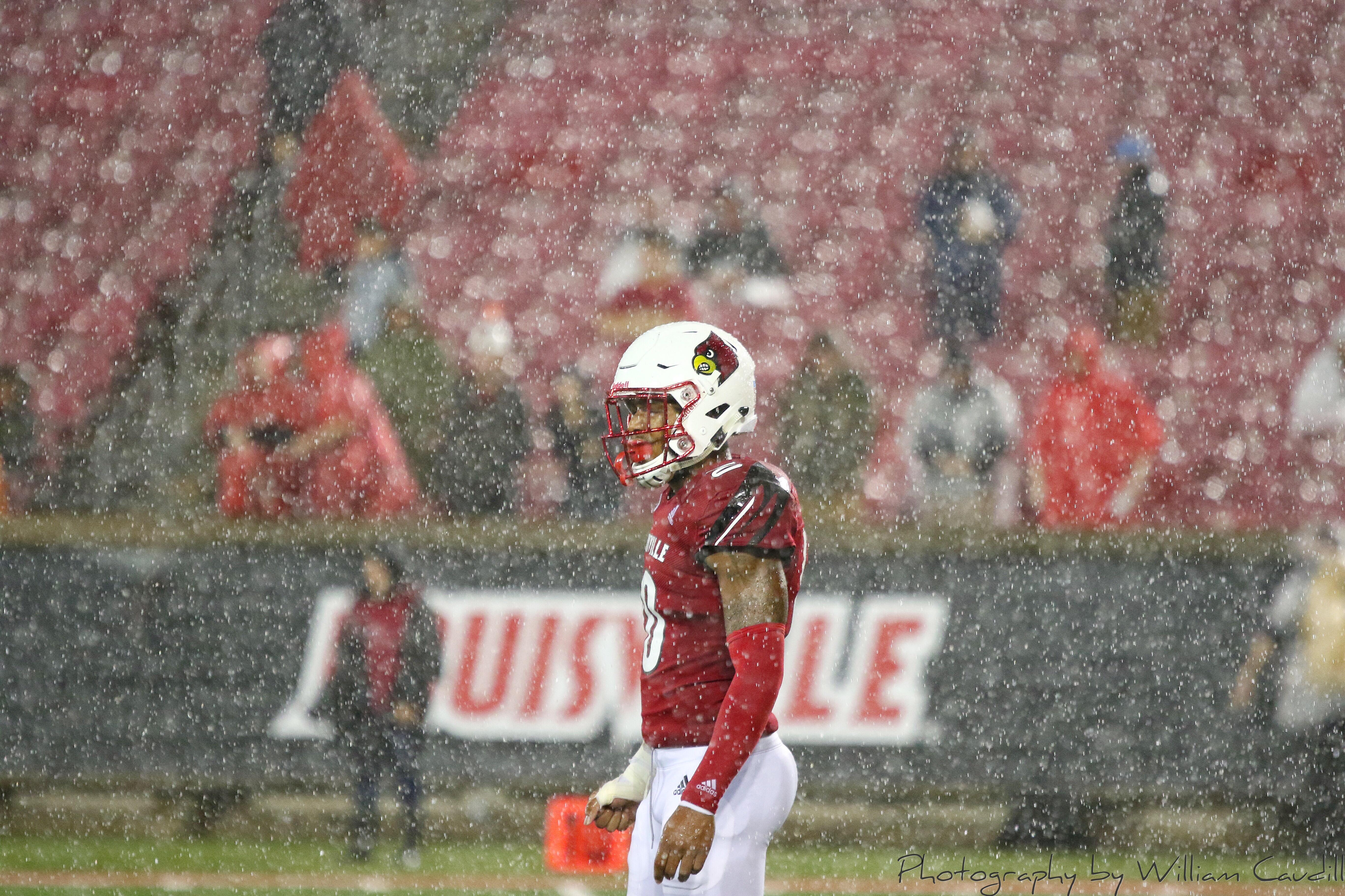 Rodjay Burns, Rain (Football) Louisville vs. Indiana State, 9-8-2018. Photo by William Caudill, TheCrunchZone.com