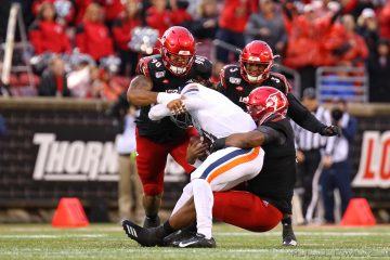 Defense, Jared Goldwire, Russ Yeast Louisville vs. Virginia 10-26-2019 Photo by William Caudill, TheCrunchZone.com