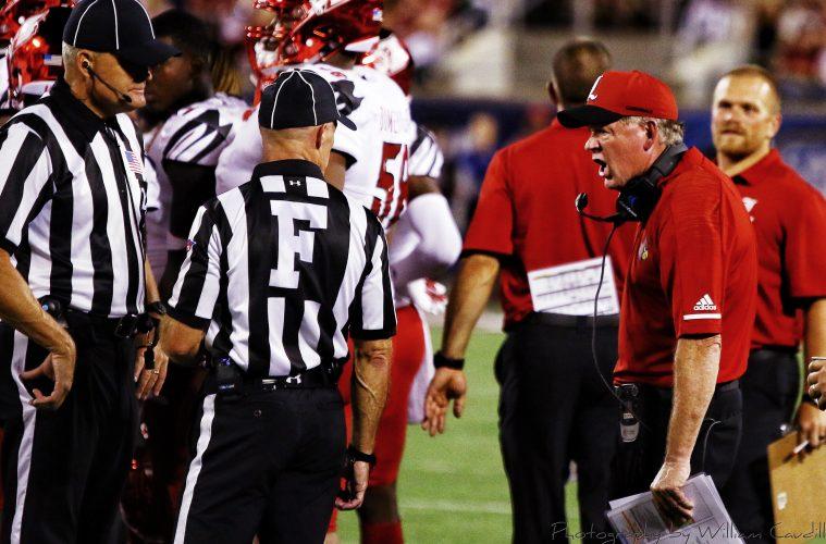 Bobby Petrino, official, referee Louisville vs. Alabama 51-14, 9-1-2018. Photo by William Caudill, TheCrunchZone.com