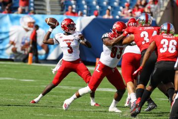 Malik Cunningham, Marshon Ford Louisville vs. Western Kentucky (WKU) 9-14-2019, Nissan Stadium, Nashville, TN. Photo by William Caudill TheCrunchZone.com