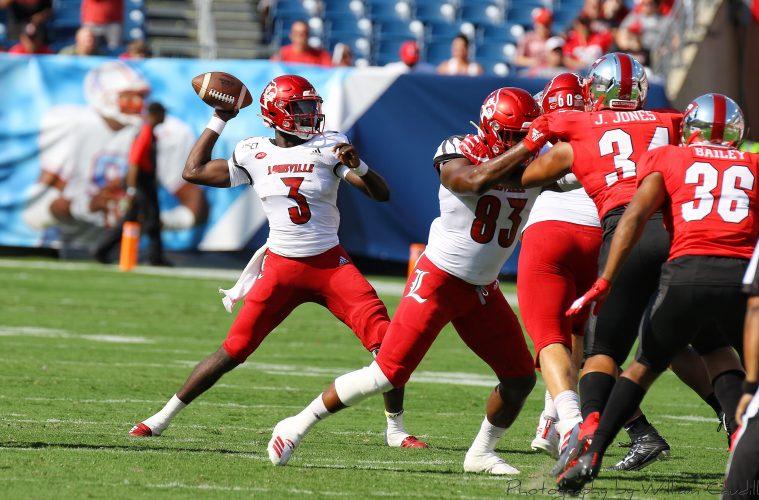 Malik Cunningham, Marshon Ford Louisville vs. Western Kentucky (WKU) 9-14-2019, Nissan Stadium, Nashville, TN. Photo by William Caudill TheCrunchZone.com