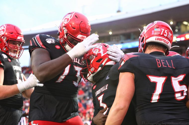 Tyler Haycraft, Mekhi Becton, Micale Cunningham, Malik Cunningham, Robbie Bell Louisville vs. Virginia 10-26-2019 Photo by William Caudill, TheCrunchZone.com