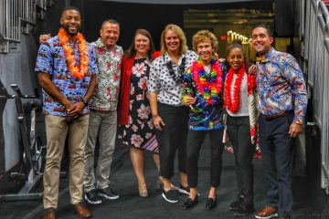 Hawaiian Shirt Night. Louisville Women's Basketball Coaching Staff, Jeff Walz. Louisville Women's Basketball vs.Murray State 11-8-2019 Photo by William Caudill, TheCrunchZone.com