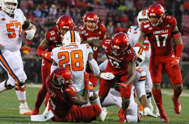 CJ Avery, Marlon Character, Rodjay Burns, Dorian Etheridge Louisville vs. Syracuse 11-23-2019 Photo by William Caudill, TheCrunchZone.com