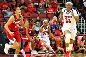 Asia Durr, Bionca Dunham Louisville vs. Nebraska 11-29-2018 Photo by William Caudill, TheCrunchZone.com