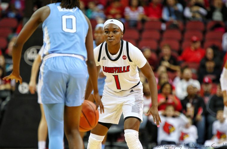 Dana Evans Louisville vs. North Carolina 1-3-2019 Photo by William Caudill, TheCrunchZone.com