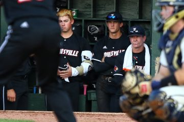 Brendan McKay, Dan McDonnell Louisville Baseball vs. Florida State ACC Tournament 5-26-2017 Photo by William Caudill at Louisville Slugger Field TheCrunchZone.com
