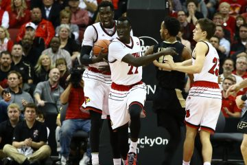 Mangok Mathiang, Deng Adel, David Levitch Louisville vs. Purdue 11-30-2016 Photo by William Caudill TheCrunchZone.com