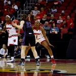 Erin DeGrate, Myisha Hines-Allen Louisville vs. Central Arkansas 3-18-2016 Photo by William Caudill