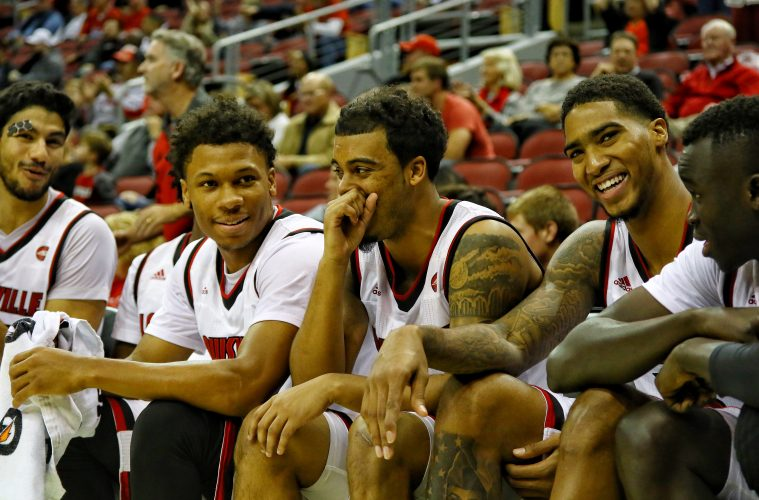Anas Mahmoud, Dwayne Sutton, Quentin Snider, Ray Spalding, Louisville Basketball vs. Kentucky Wesleyan by William Caudill, 10-30-2017, TheCrunchZone.com