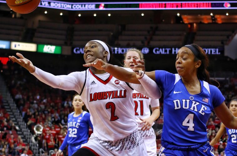 Myishia Hines-Allen Louisville vs. Duke 1-4-2018 Photo by William Caudill, TheCrunchZone.com