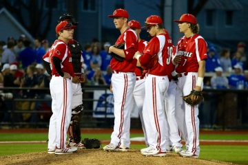 Dan McDonnell, Brendan McKay Louisville Baseball vs. Kentucky 4-4-2017 Photo by William Caudill TheCrunchZone.com