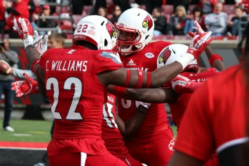Trumaine Washington Pick 6 with Chucky Williams Louisville vs. Syracuse 11-7-2015 Photo by William Caudill