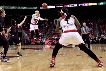 Briahanna Jackson, Myisha Hines-Allen Louisville vs. Virginia Tech 1-7-2016 Photo by Samantha Caudill