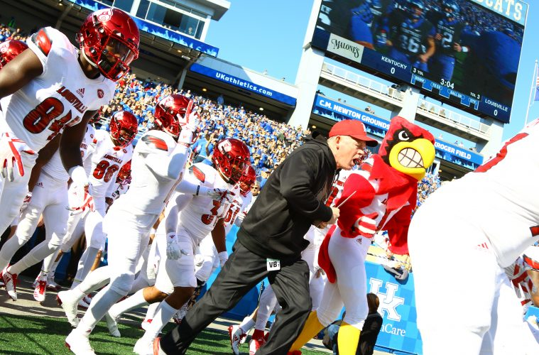 Entrance, Louie, Bobby Petrino Louisville vs. Kentucky 11-25-2017 Governor's Cup Photo by William Caudill TheCrunchZone.com