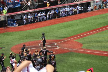 Home Run Celebration Louisville Baseball vs. Kentucky NCAA Super Regional 6-10-2017 Photo by Mark Blankenbaker TheCrunchZone.com