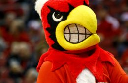 Louie the Cardinal Louisville vs. Grand Canyon University 12-23-2017 Photo by William Caudill TheCrunchZone.com