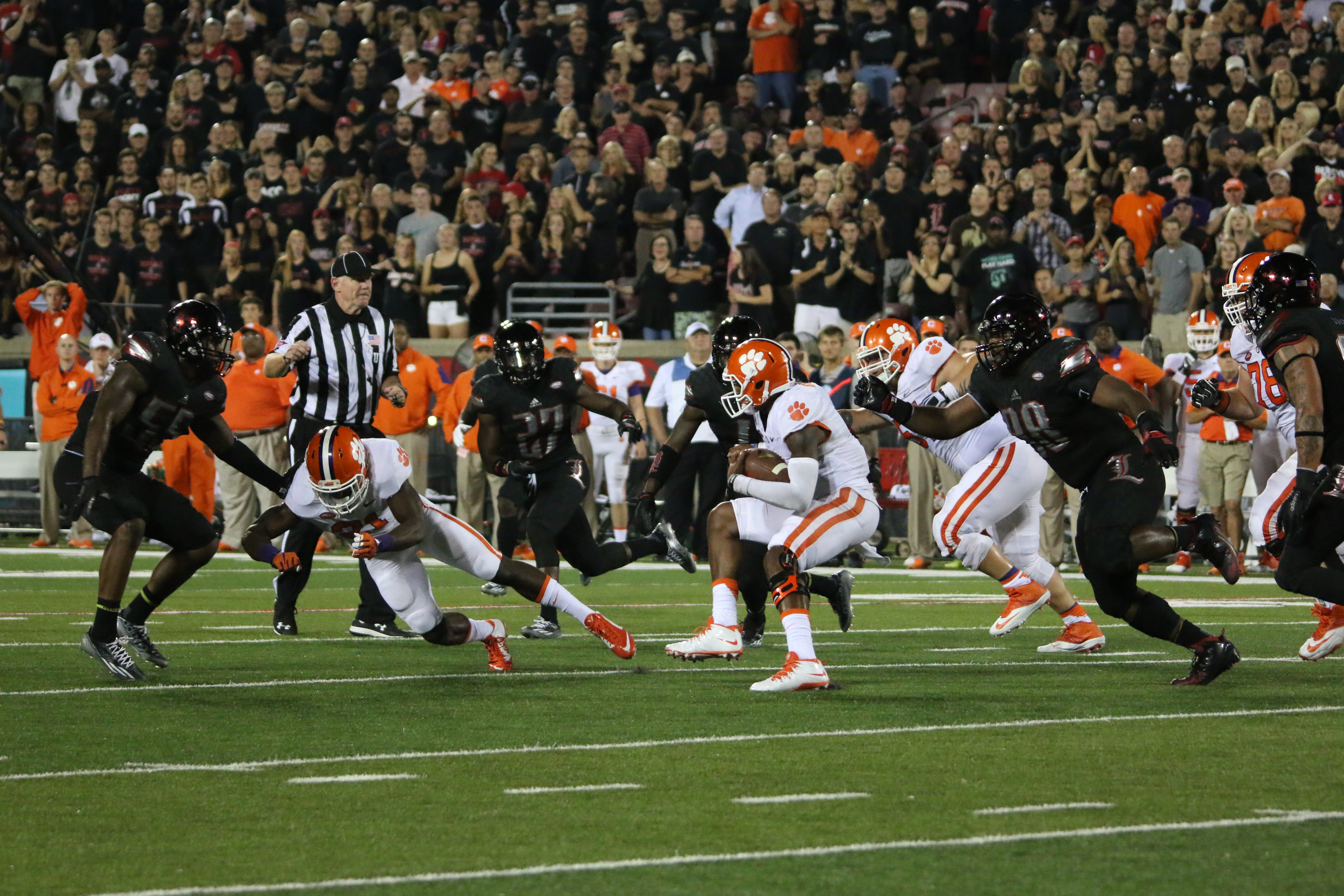 Sheldon Rankins, Jermaine Reve, Keith Kelsey Louisville vs. Clemson 9-17-2015 Photo by William Caudill.