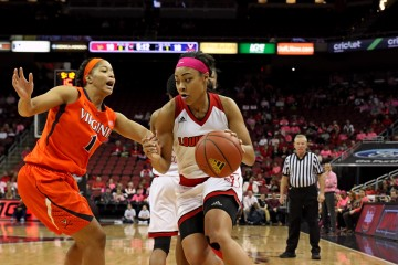 Mariya Moore PINK OUT Louisville vs. Virginia 2-18-2016 Photo by William Caudill