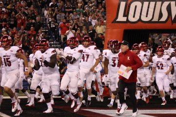 Bobby Petrino Entrance Louisville Football vs. Purdue 9-2-2017 Photo by Mark Blankenbaker, TheCrunchZone.com