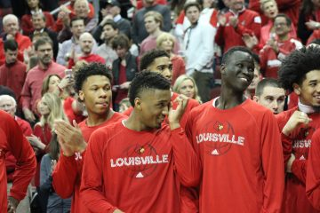 Deng Adel, Donovan Mitchell, Ray Spalding, Dwayne Sutton Louisville vs. Notre Dame 3-4-2017 Photo by Mark Blankenbaker TheCrunchZone.com