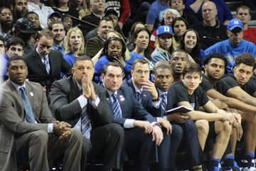 Jeff Capel, Mike Krzyzewski, Grayson Allen, Louisville vs. Duke 3-9-2017 Photo by Mark Blankenbaker TheCrunchZone.com