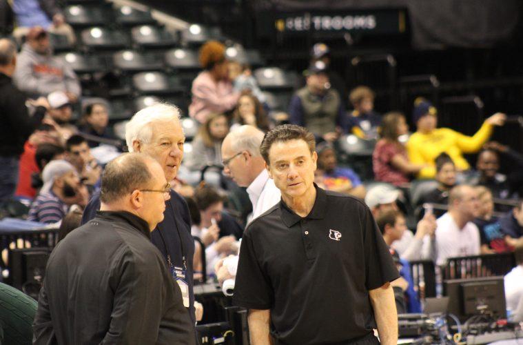 Vinny Tatum, Bill Raftery, Rick Pitino Louisville Basketball Open Practice NCAA 1st Round 3-16-2017 Photo by Mark Blankenbaker