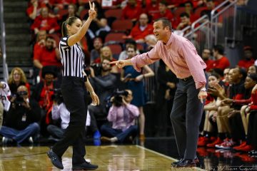 Jeff Walz, Referee, Official Louisville vs. Notre Dame 1-11-2018 Photo by William Caudill, TheCrunchZone.com
