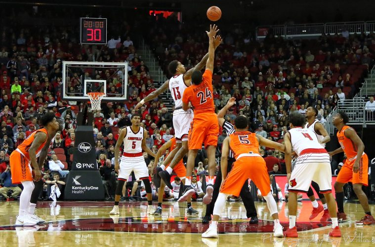 Ray Spalding, Tipoff Louisville vs. Virginia Tech 1-13-2018 Photo by William Caudill, TheCrunchZone.com