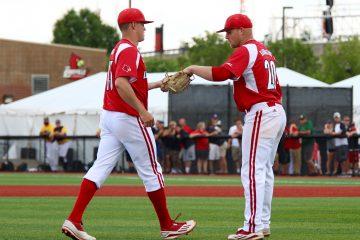 Drew Harrington, Zach Burdi Louisville vs. Wright State 6-5-2016 Photo by William Caudill