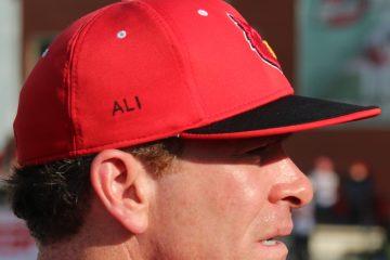 Dan McDonnell ALI Hat Louisville Baseball Louisville vs. Wright State 6-5-2016 Photo by William Caudill