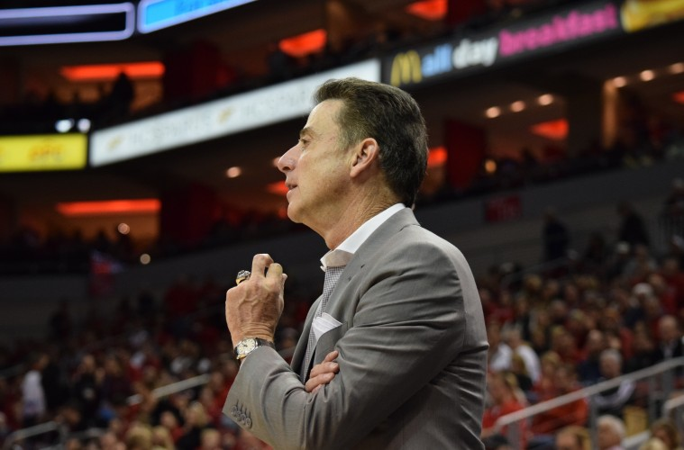 Rick Pitino Louisville vs. Grand Canyon 12-5-2015 Photo by Seth Bloom
