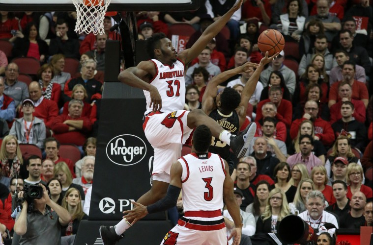 Chinanu Onuaku, Trey Lewis Louisville vs. Wake Forest 1-3-2016 Photo by William Caudill