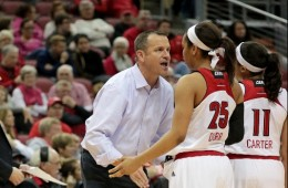 Jeff Walz, Asia Durr, Arica Carter, Louisville vs. Virginia Tech 1-7-2016 Photo by William Caudill