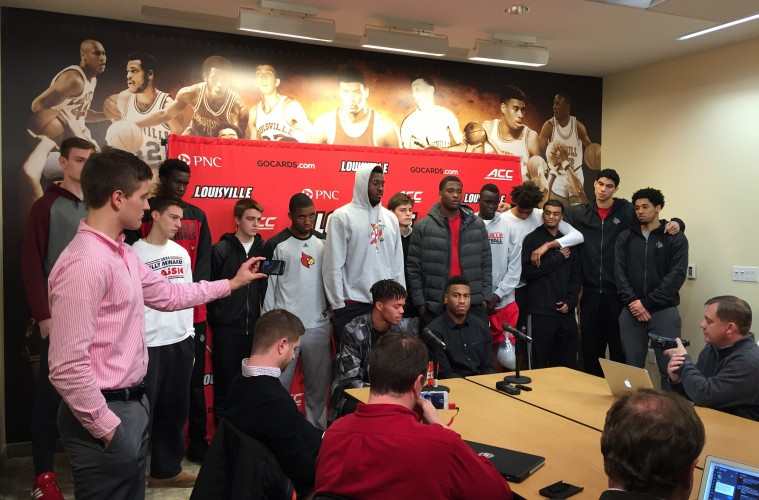 Damion Lee & Trey Lewis Address Media with Team Behind them after learning of Post-Season Ban 2-5-2016 Photo by Mark Blankenbaker