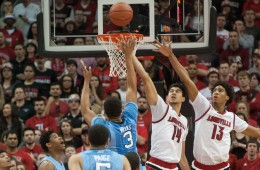 Ray Spalding, Anas Mahmoud Louisville vs. North Carolina 2-1-2016 Photo Courtesy of Wade Morgen