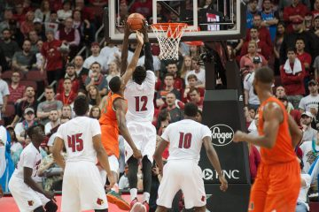 Mangok Mathiang, Deng Adel, Donovan Mitchell, Jaylen Johnson Louisville vs. Miami 2-11-2017 Photo By Wade Morgen TheCrunchZone.com