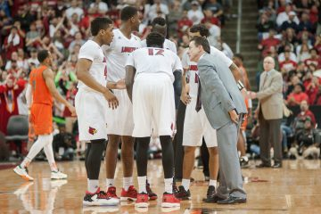 Team, Donovan Mitchell, Mangok Mathiang, Jaylen Johnson, Quentin Snider, Deng Adel, Rick Pitino Louisville vs. Miami 2-11-2017 Photo By Wade Morgen TheCrunchZone.com
