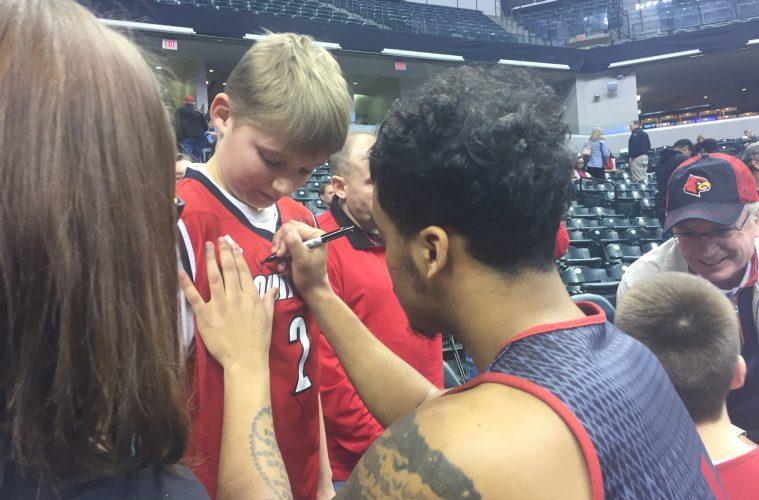 Quentin Snider Louisville Basketball Open Practice NCAA 1st Round 3-16-2017 Photo by Mark Blankenbaker